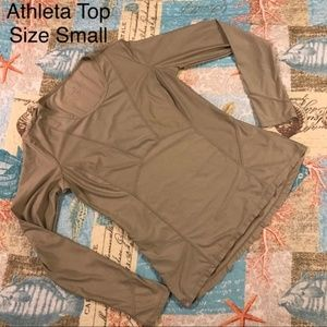 Athleta Tan Compression Long Sleeve Top Small